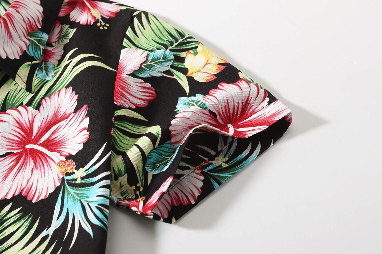 SSLR Big Girls Floral Button Down Short Sleeve Hawaiian Shirt