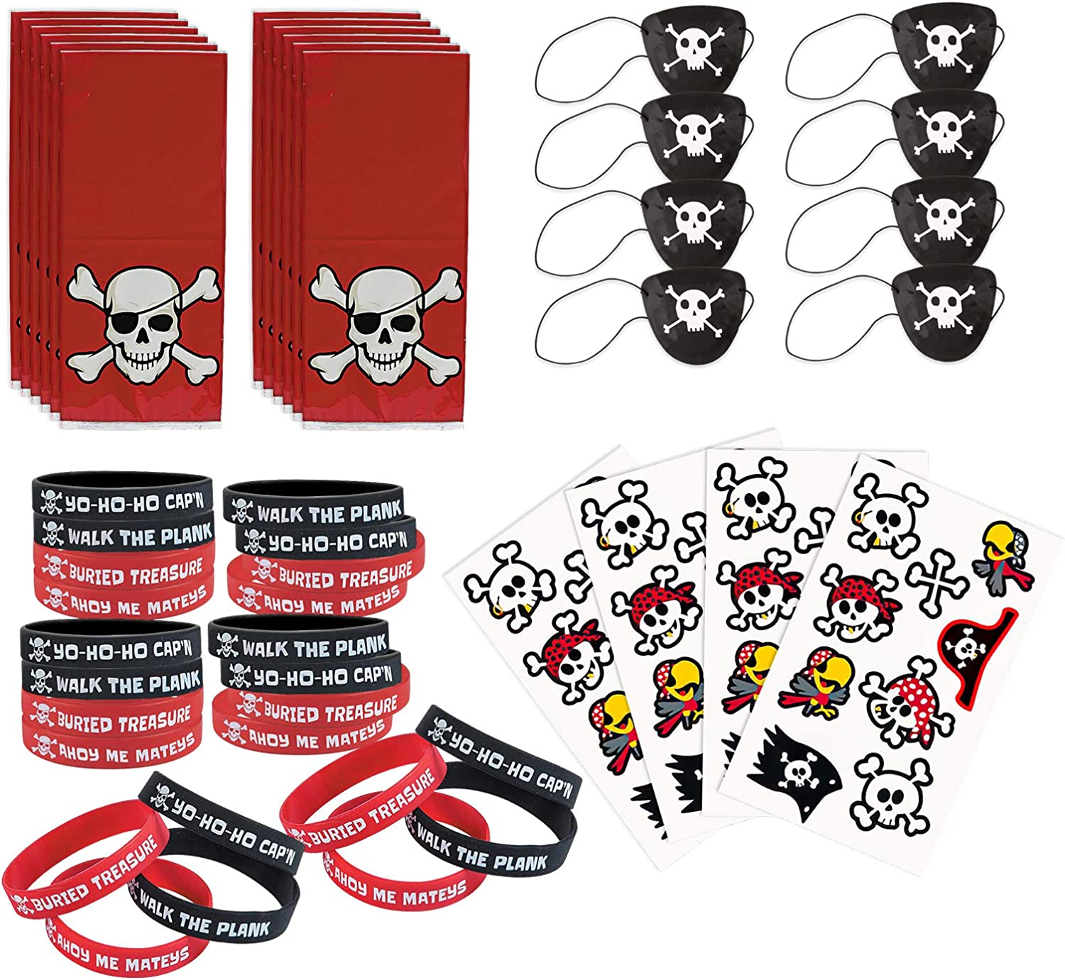 Pirate Party Favors - Goody Bags, Eye Patches, Bracelets, and Tattoos for 12 Guests