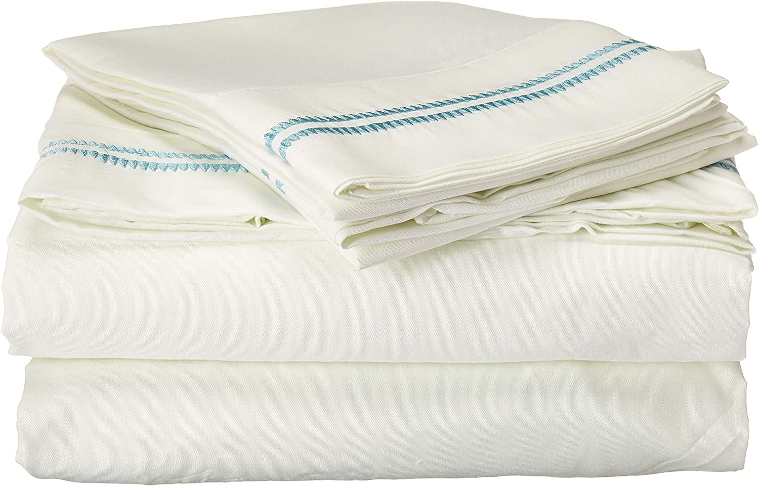 Posh Home 4 Piece (Queen, Double Scallop-Blue) Embroidered Sheet Set