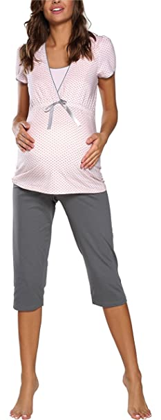 Italian Fashion IF Mujer Pijamas Premamá Felicita 0225 (Albaricoque/Gris, S)