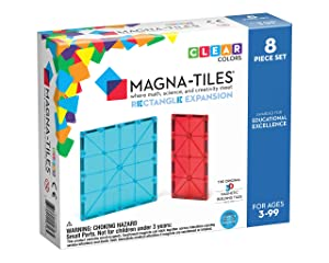 Magna Tiles 8Piece Rectangles Expansion Set – The Original, Award-Winning Magnetic Building Tiles – Creativity & Educational – Stem Approved