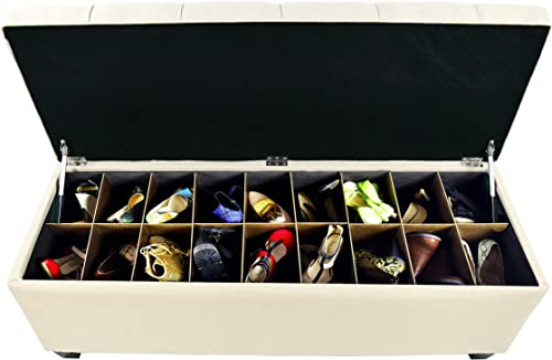 MJL Furniture Designs Diamond Tufted Ottoman Bedroom Bench with Shoe Storage, 20 x 54 x 18 , Ecru