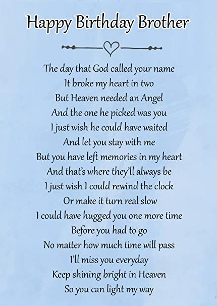 Happy Birthday Brother Memorial Graveside Poem Keepsake Card Includes Free Ground Stake F124 Amazoncouk Kitchen Home