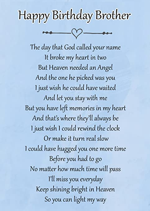 Happy Birthday Brother Memorial Graveside Poem Keepsake Card Includes Free Ground Stake F124