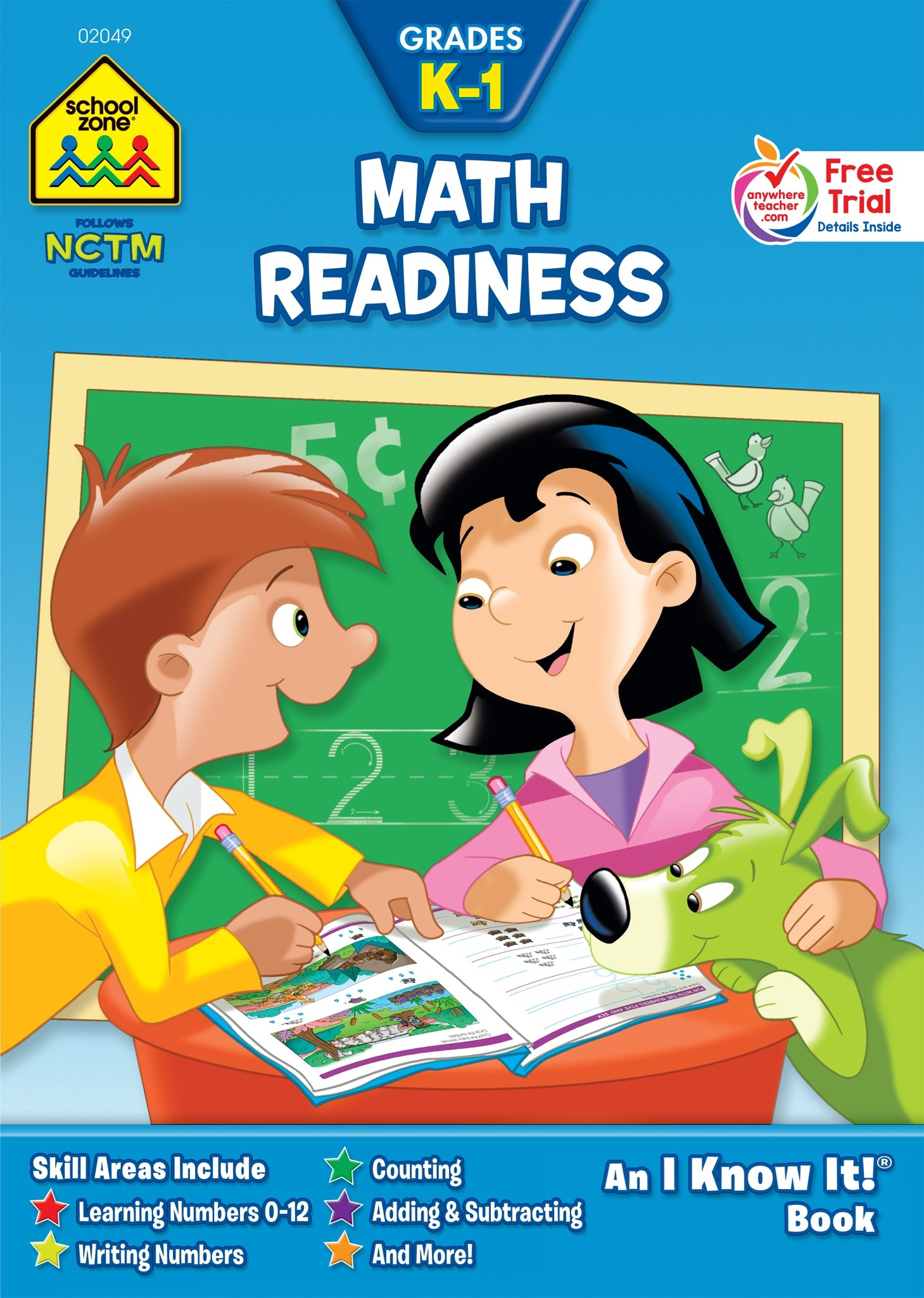 SCHOOL ZONE - Math Readiness K-1 Workbook, Grades Kindergarten thru 1st, Ages 4 to 6, I Know It!®, Numbers 0-12, Counting, Addition, Subtraction, Shapes, Tracing, and More!