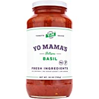 Keto Tomato Basil Pasta Sauce by Yo Mama's Foods - Pack of (1) - No Sugar Added, Low Carb, Low Sodium, Vegan, Gluten Free, Paleo Friendly, and Made with Whole, Non-GMO Tomatoes.