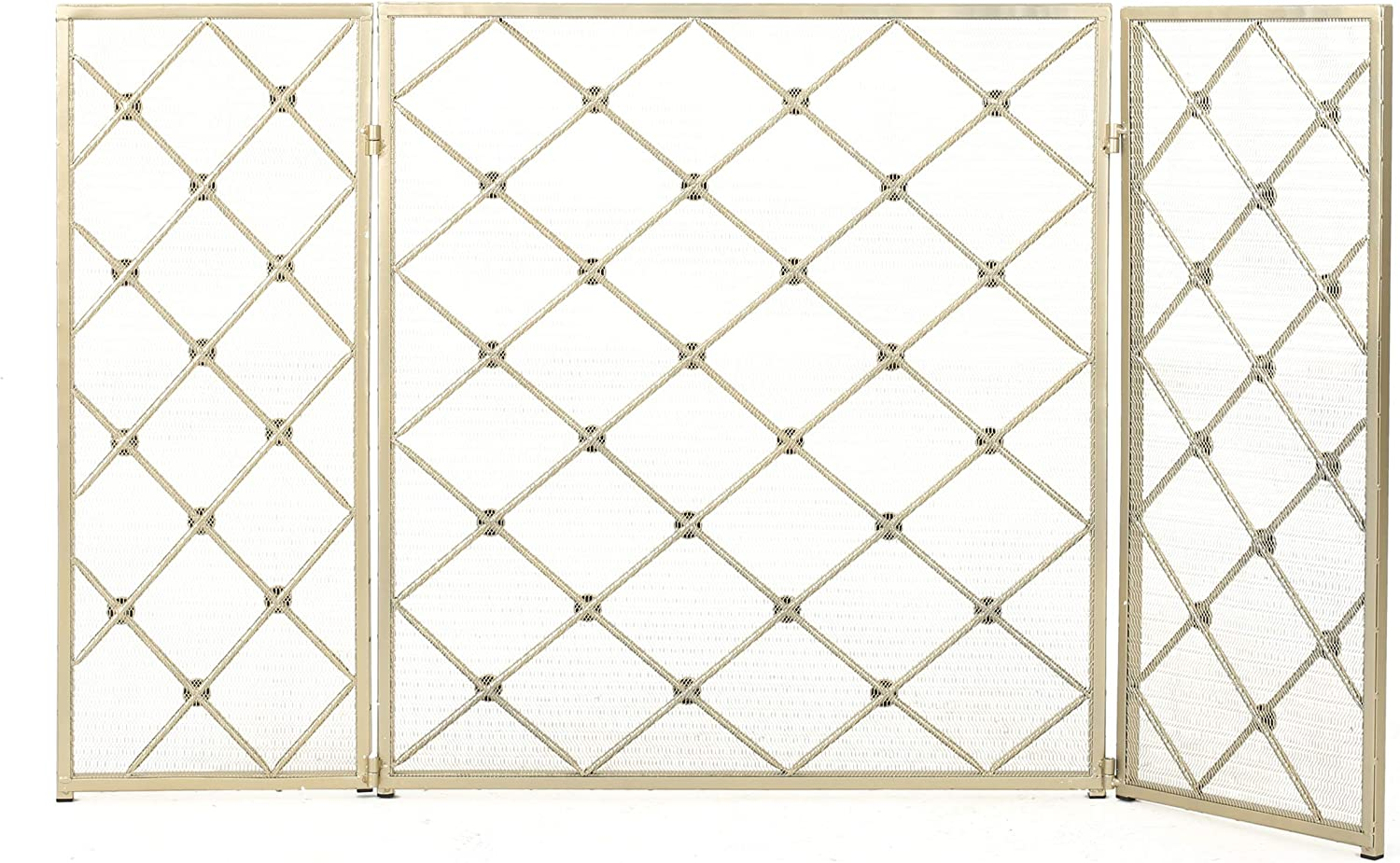 Christopher Knight Home Chelsey 3 Panelled Iron Fireplace Screen, Gold