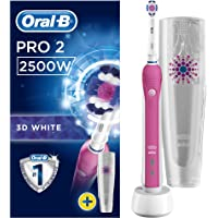 Oral-B Pro 2  2500 3D White Electric Rechargeable Toothbrush with Travel Case Powered by Braun - Pink - (UK 2-Pin Bathroom Plug)