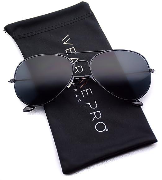 67896fa8a51 WearMe Pro - Classic Cop Metal Standard Aviator Sunglasses - Dark Lens