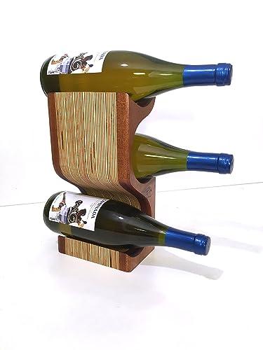Amazoncom Mahogany 3 Bottle Wood Wine Rack Display Handmade