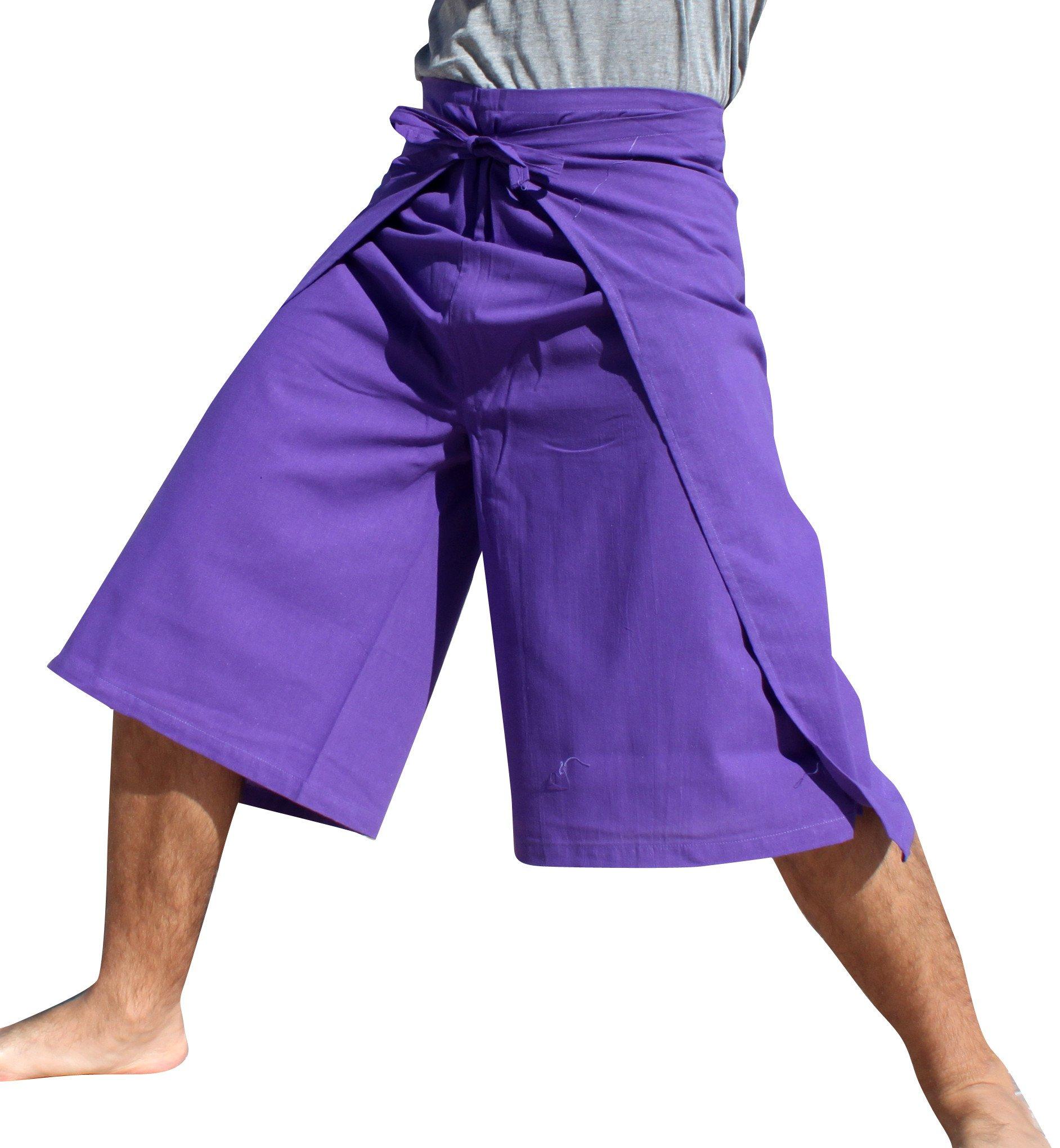 RaanPahMuang Drive In Wrap Pants In Summer Plain Mixed Cotton, Medium, Aum Cotton - Amethyst Violet by RaanPahMuang