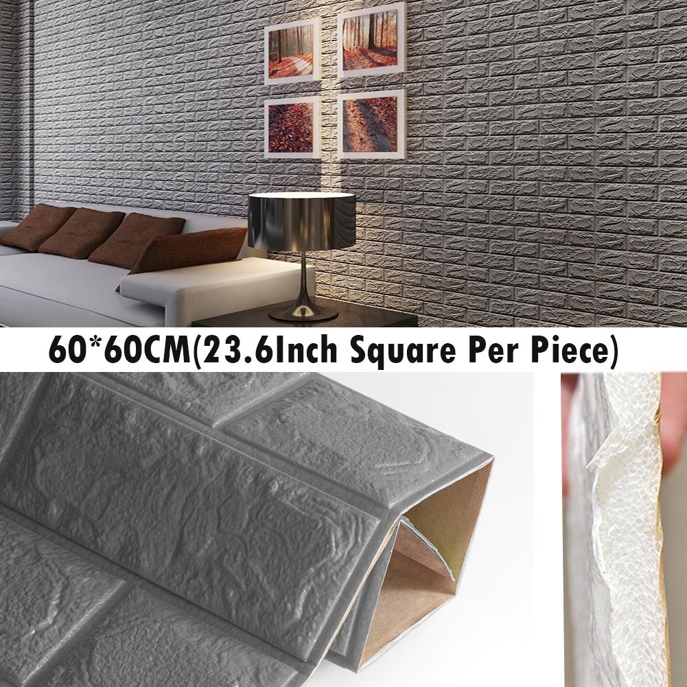 3D Foam Wall Panels Grey Color Peel And Stick Brick Wallpaper POPPAP Self-adhesive Removable for TV Walls, Background Wall Decor 40PCS by POPPAP