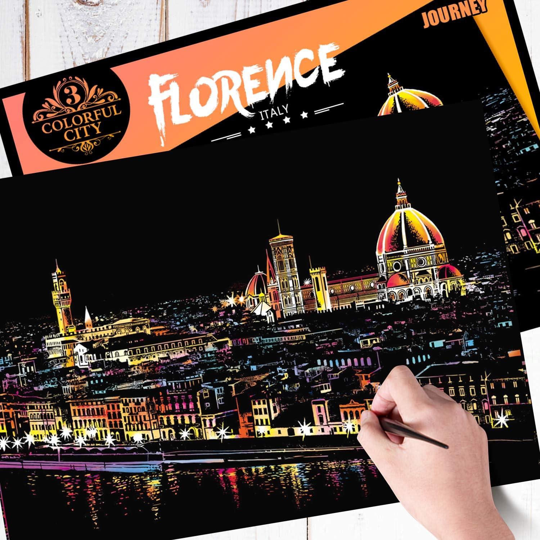 Firenze H HOMEWINS 400/×285MM Stencil Disegno Bambino Arte per Adulti Creativo Graffio di Immagini Graffio di Vernice Citt/à Famosa Scratch Art Regalo Natale Compleanno