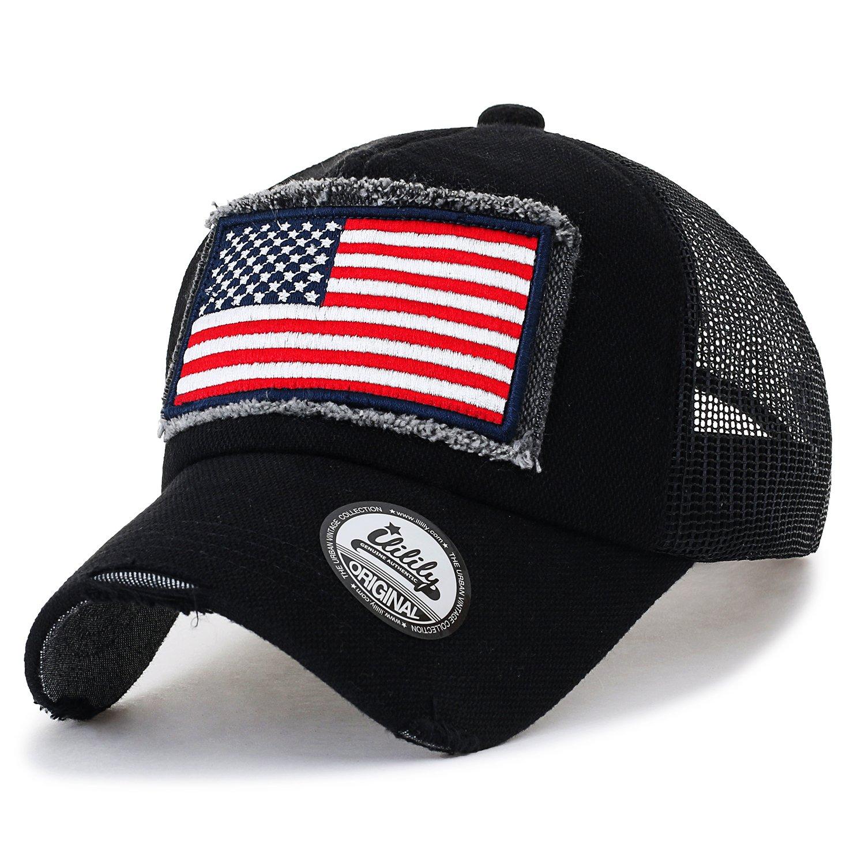 1b0e30ab998 ililily USA Flag Patch Denim Cotton Vintage Distressed Baseball Cap Trucker  Hat