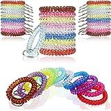 BIHRTC Pack of 100 Wrist Key Holder Keychain Wrist Coil Keychain Coil Bracelets Stretchy Keychain Key Chain Bracelet for Offi