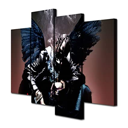 fd90012d14a7 Mixi Art 4 Pcs Travis Scott Rapper Musician Printed Canvas Wall Art Picture  Home Décor,