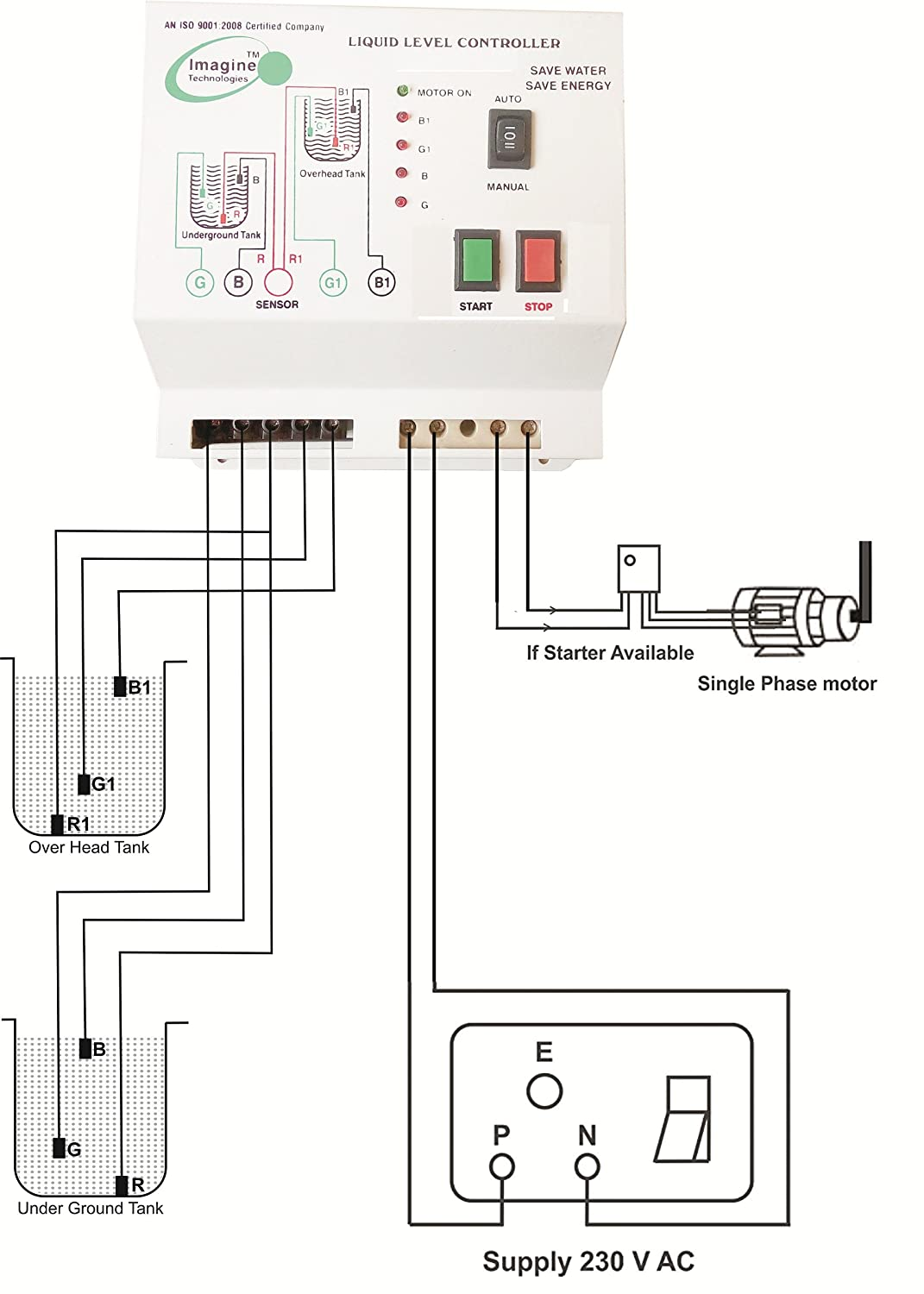 Imagine Technologies Fully Automatic Water Level Controller With Up Lowcost Power Buzzer Circuit Diagram Centre And Down Tank Sensor White Industrial Scientific