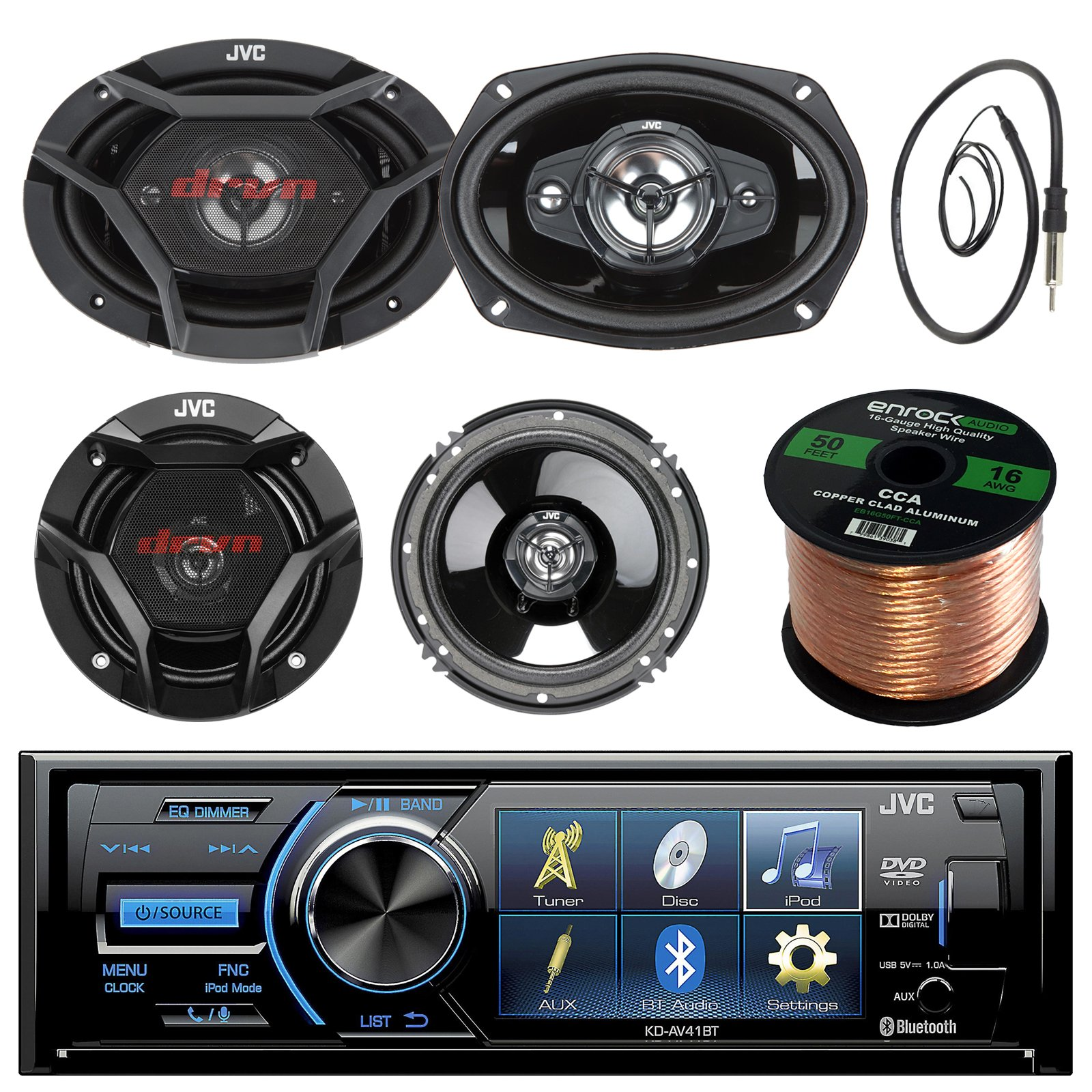 JVC KD-AV41BT 3'' Car DVD Bluetooth Stereo Receiver Bundle Combo With 2x Dual 6.5'' 2-Way And 2x 6x9'' Inch 4-Way Audio Coaxial Upgrade Speakers + Enrock 22'' AM/FM Antenna + 50 Foot 16 Guage Speaker Wire