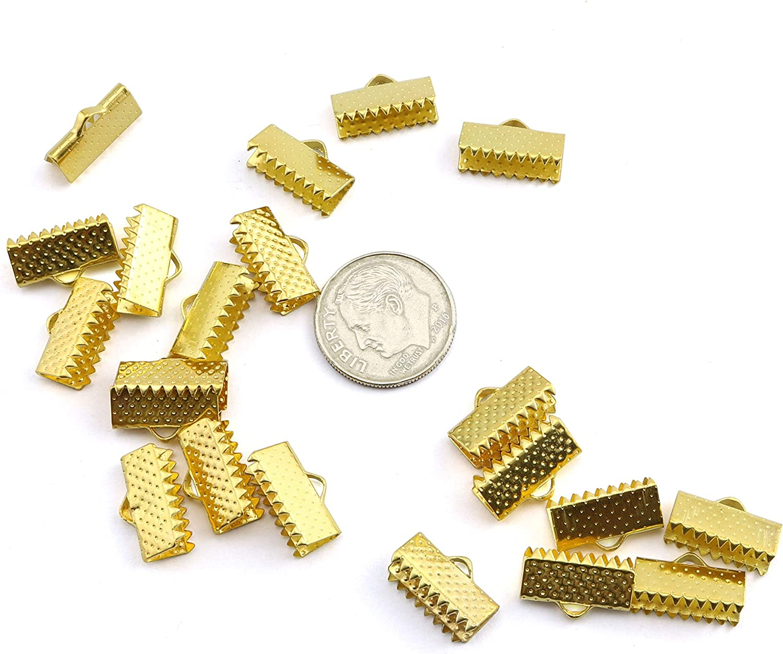 NX Garden Ribbon Ends 100PCS Golden Ribbon End Fastener Clasps Clamps Cord End Textured Crimp Ends 10mm