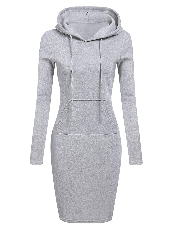 Hindom Womens Long Sleeve Basic Hoodie Mini Dress Solid Drawstring Long Fleece Lined Pullover Sweatshirt