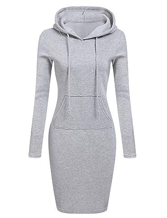 c9e26501f38c Pagacat Strickkleid Damen Sweatshirt Kleid Sportlich Pullover Kleid  Bleistift Langarm Kleid Knielang  Amazon.de  Bekleidung