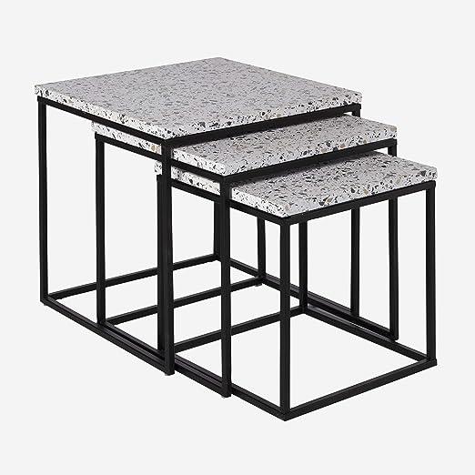 Camino a casa | Set de 3 mesas Nido Terra - Estructura de Hierro Pintado. Tapas de terrazo | Blanco: Amazon.es: Hogar
