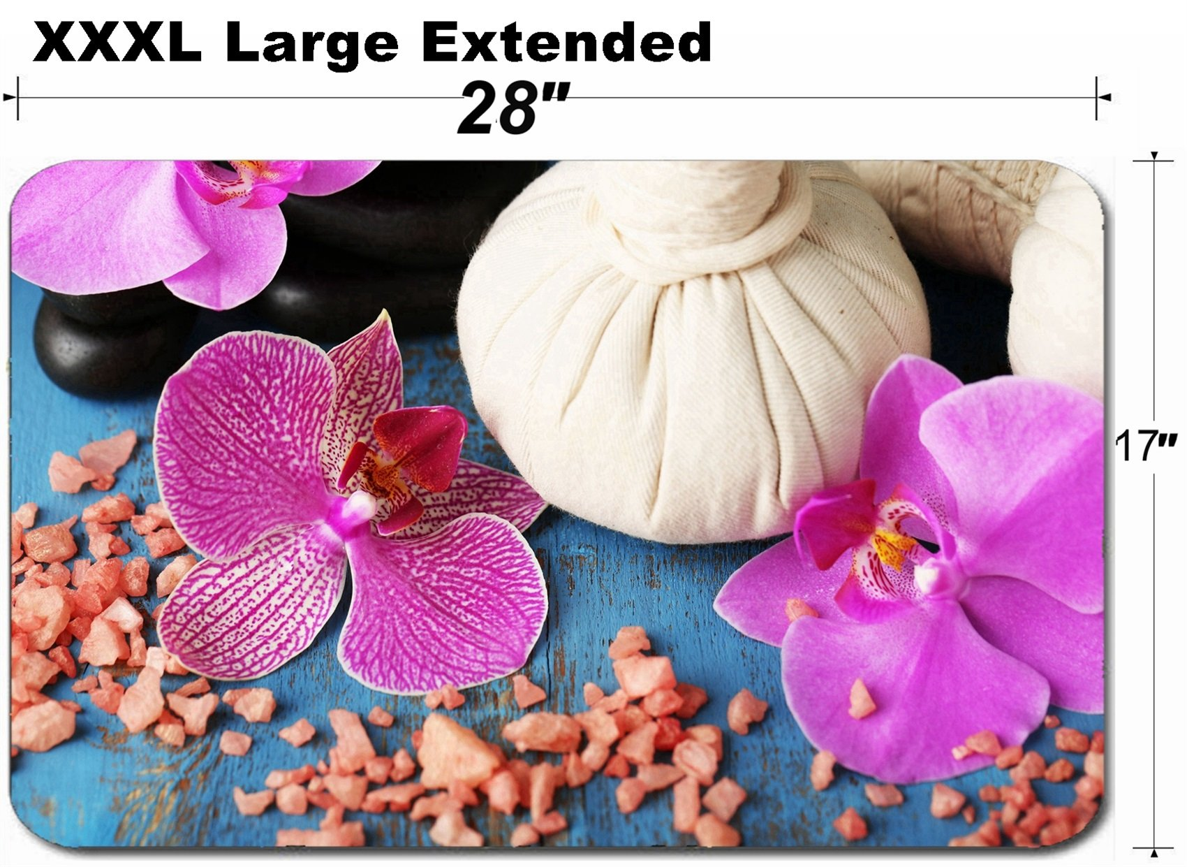 MSD Large Table Mat Non-Slip Natural Rubber Desk Pads Image ID: 35139945 Colorful Tropical Orchid Flowers and Spa Set on Color Wooden backgro