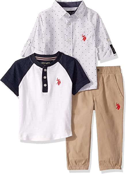 and Jogger Set T-Shirt Polo Assn U.S Boys 3 Piece Athletic