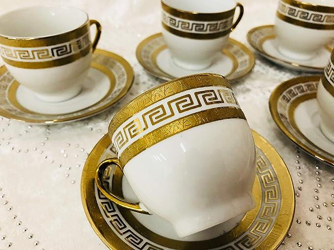 Medusa Designer Espresso Service Gedeck Teller /& Tassen Porzellan für 6 Personen