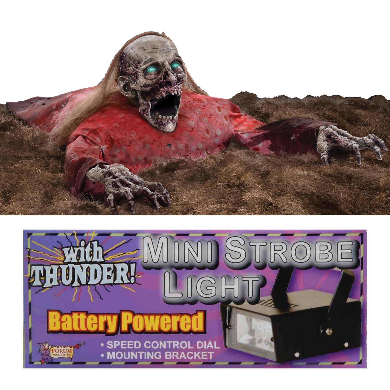Clawing Cathy Animated Prop with 1 Mini Strobe Light with Thunder Sounds Bundle