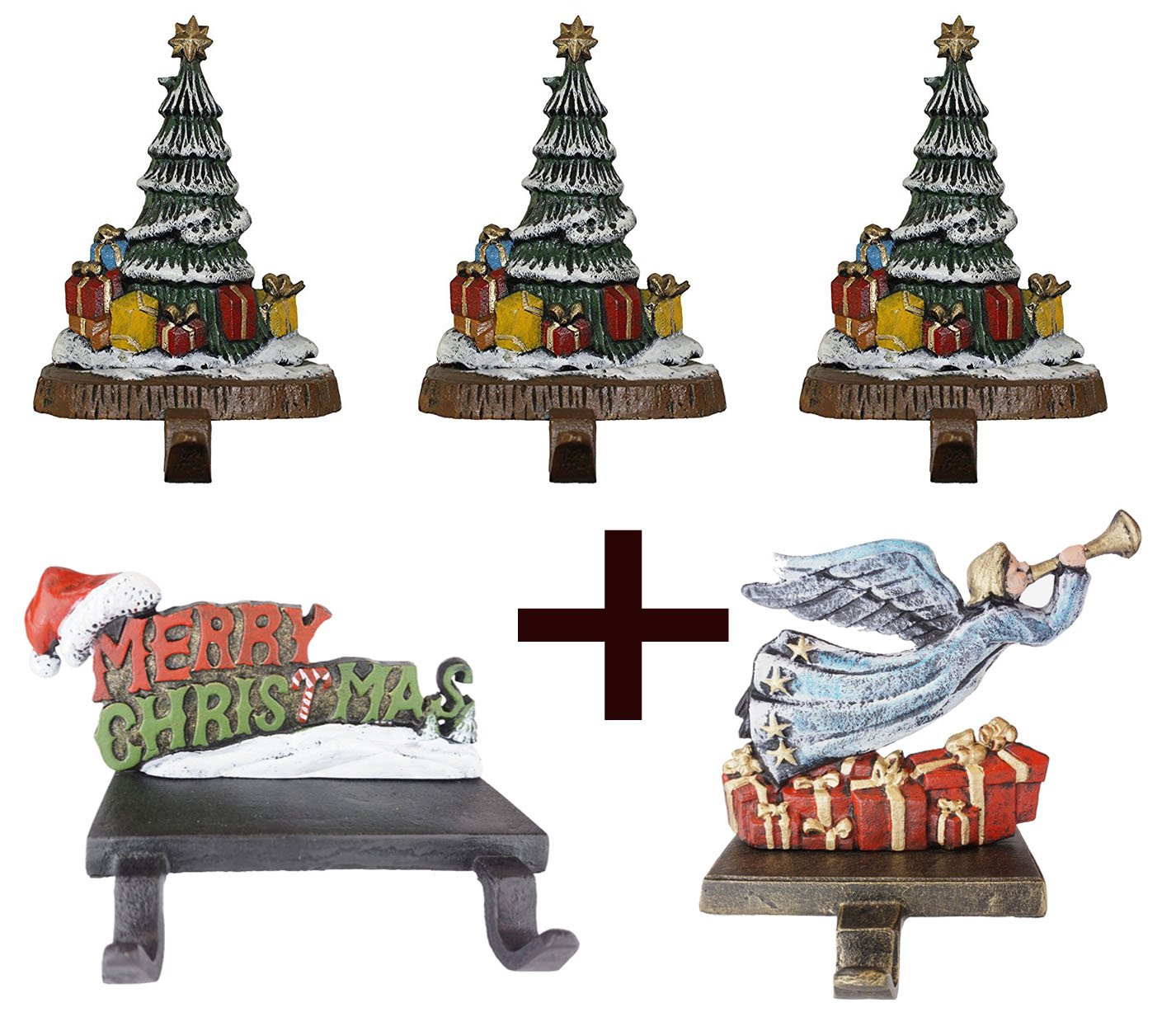 Lulu Decor, 100% Cast Iron Combo Deal, Decorative 6 stocking holders, includes 3 Christmas Trees, 1 Merry Christmas & 1 fairy (Combo deal 3 Trees, MC & Fiary) by LuLu