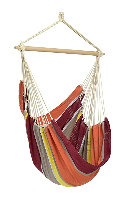 Byer of Maine Brazil Hanging Hammock Chair by, Indoors and Outdoors, Recycled Cotton/Polyester Blend Canvas, Handwoven, Acerola, 68