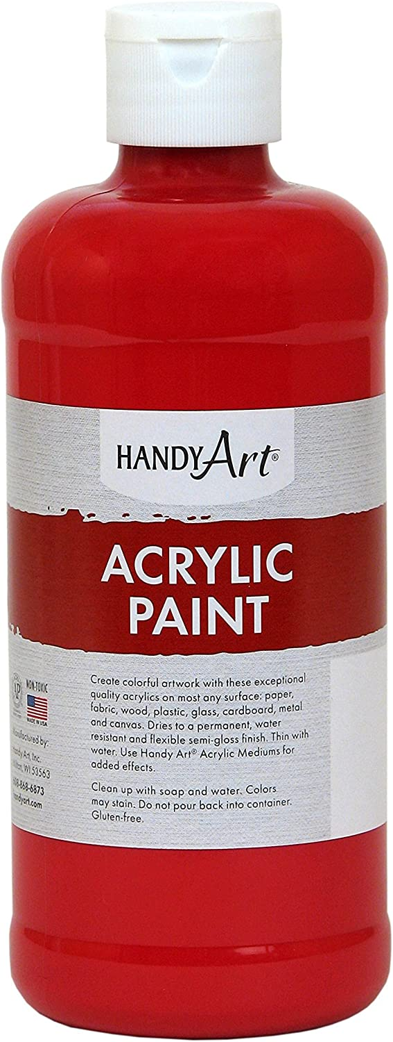 Handy Art Student Acrylic Paint 16 ounce, Brite Red