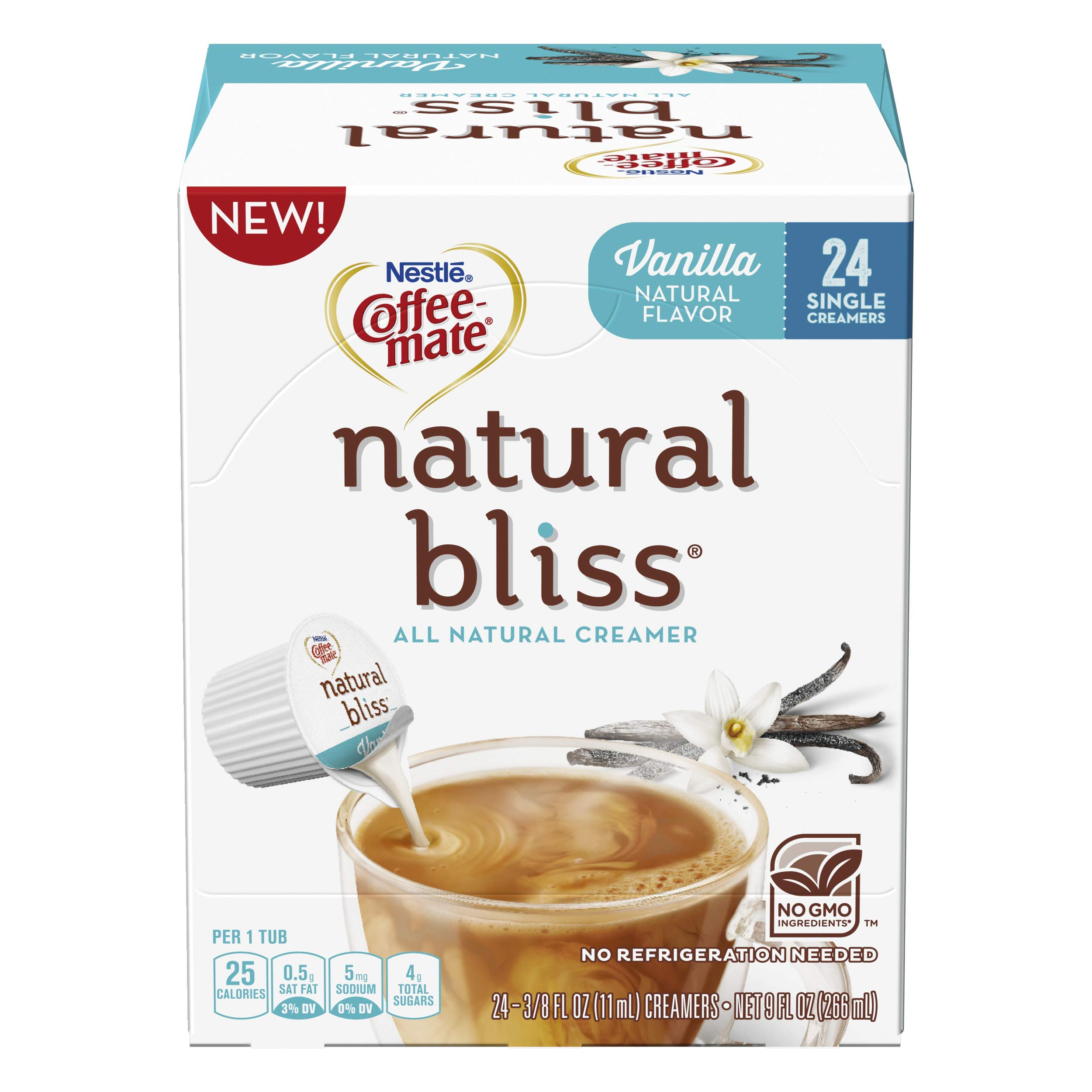 Coffee Mate Coffee-Mate Natural Bliss Liquid Creamer Singles Tubs, Vanilla, 96 Count by Nestle Coffee Mate