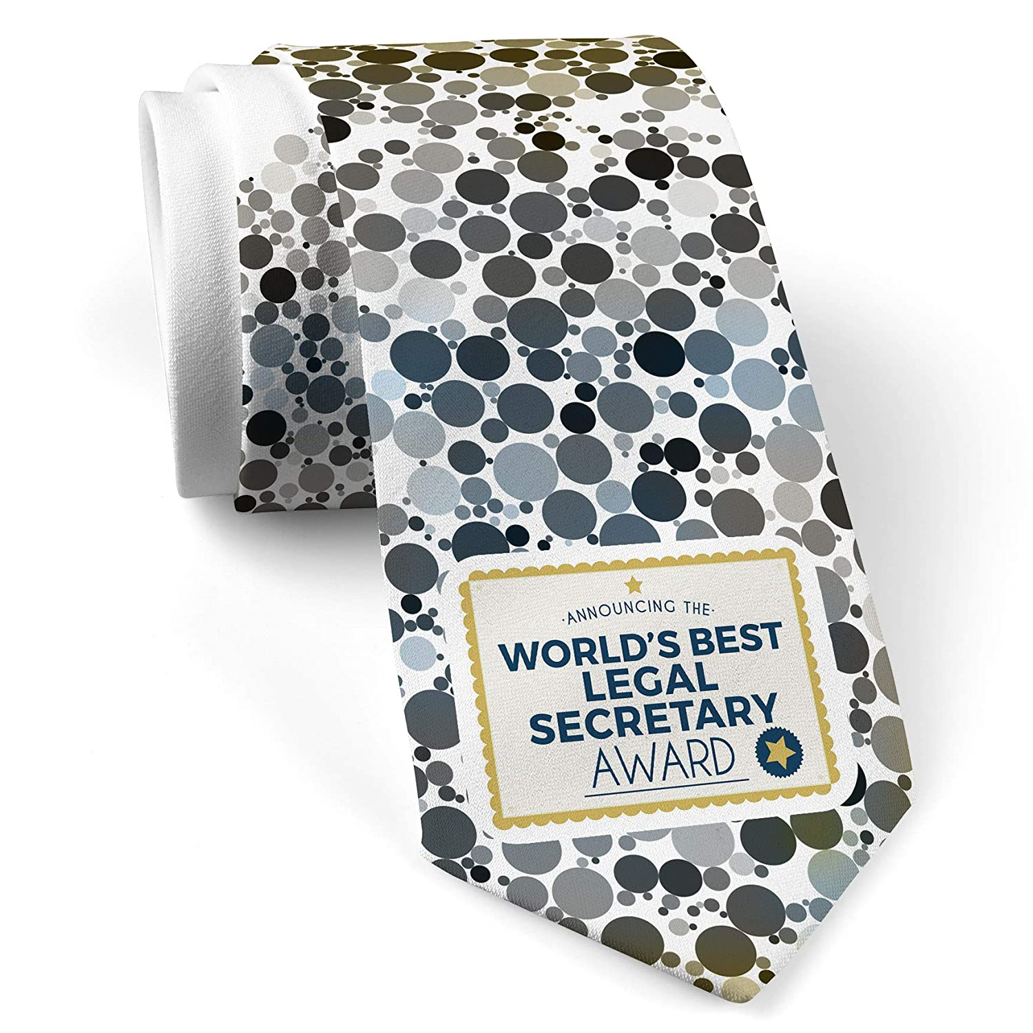 Neck Tie With Worlds Best Legal Secretary Certificate Award White