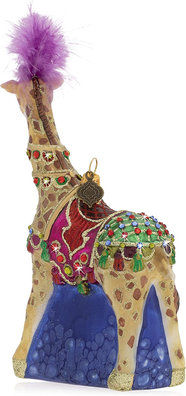 Jay Strongwater Jeweled Jubilee Carousel Giraffe Glass Christmas Ornament