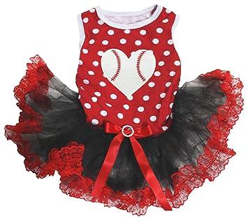 Petitebelle - Vestido para perro, diseño de corazón, con lunares rojos, color negro