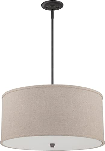 Quoizel CRA2822MC Cloverdale Drum Pendant Lighting, 4-Light, 400 Watts, Mottled Cocoa 12 H x 22 W