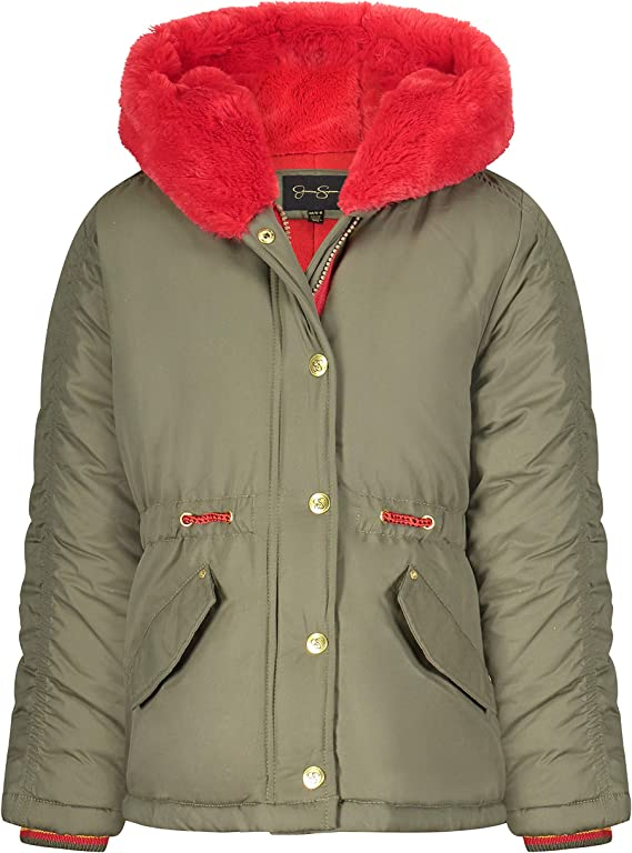 Jessica Simpson Girls' Puffy Winter Coat with Cozy Trimmed Hood