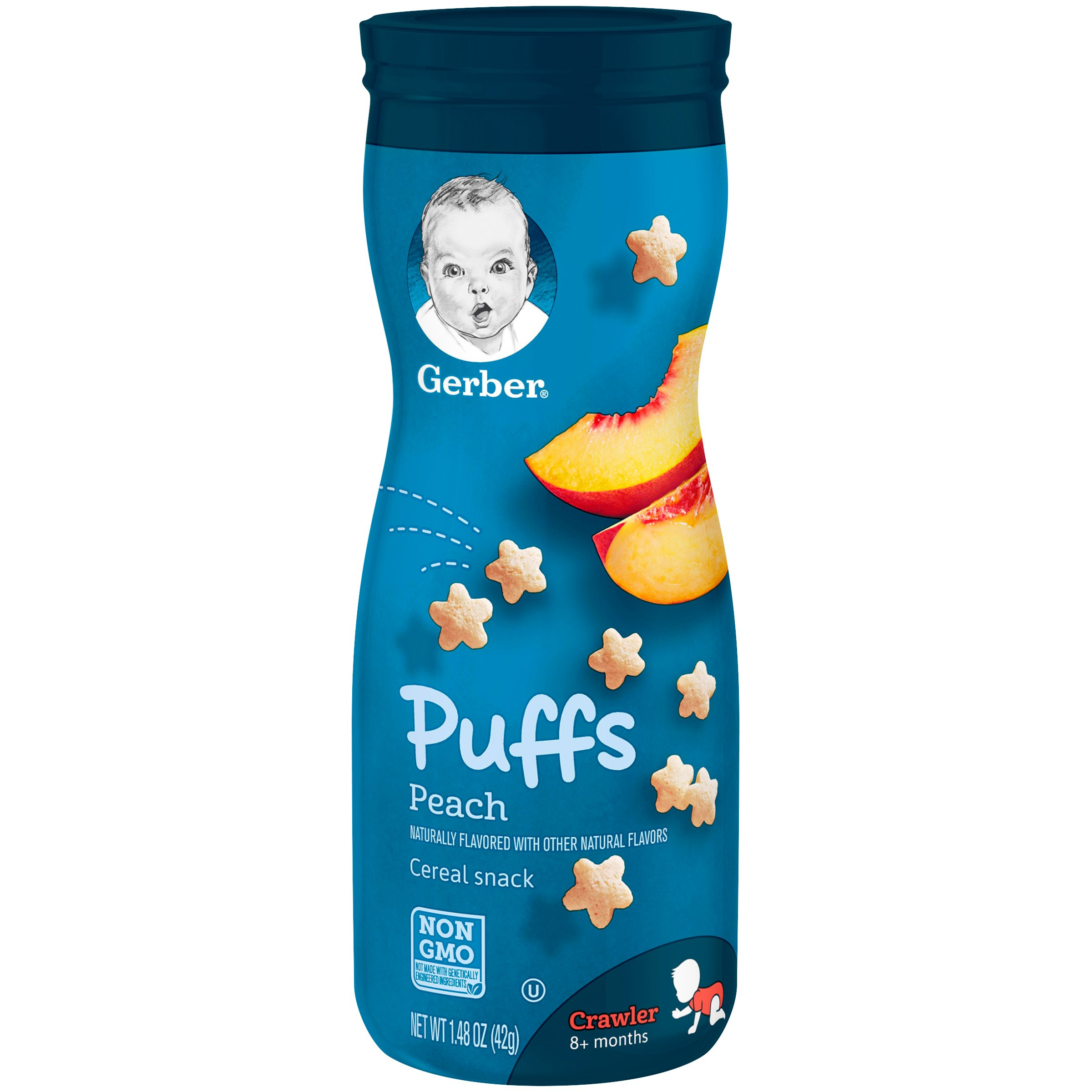 Gerber Puffs Cereal Snack, Peach, 1.48 Ounce, 6 Count