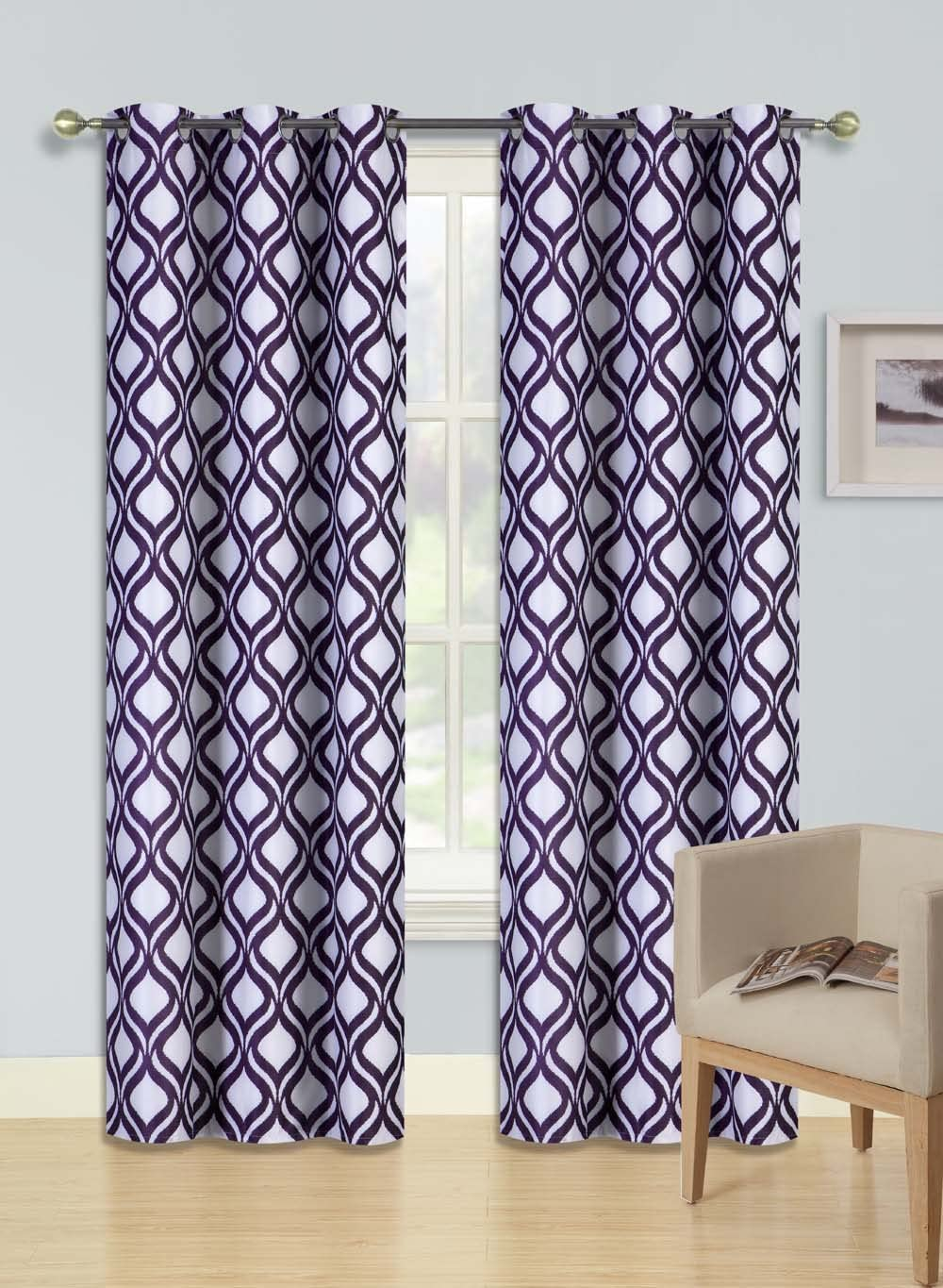 """Gorgeous Home (F1) 2 Panels Swirl DOTS Printed Purple 84"""" Standard Size Thermal Foam Lined Blackout Heavy Thick Window Curtain Drapes Silver Grommets"""