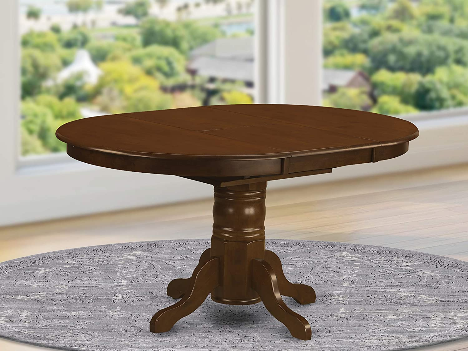 Amazon Com East West Furniture Butterfly Leaf Oval Dining Table Espresso Table Top And Espresso Finish Pedestal Legs Solid Wood Frame Kitchen Table Furniture Decor