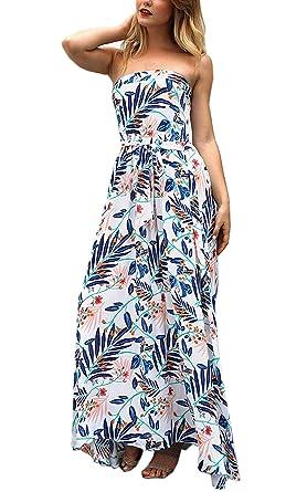 999b2fea97 Angashion Women s Summer Floral Boho Strapless Beach Party Wedding Swing  Maxi Tube Dress with Belt Blue