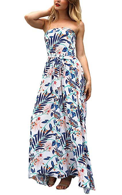 a100706c0266 Angashion Women's Summer Floral Boho Strapless Beach Party Wedding Swing  Maxi Tube Dress with Belt Blue S at Amazon Women's Clothing store: