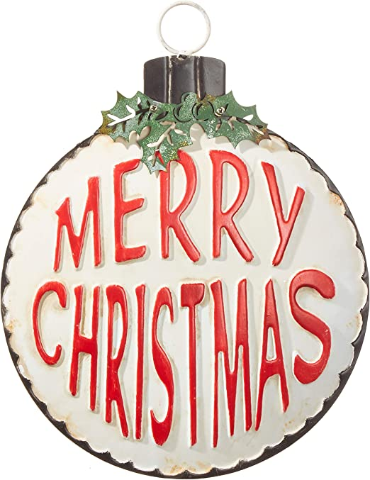 Amazon.com: RAZ Imports 13 Inch Merry Christmas Ornament - Hanging Metal Christmas  Sign: Home & Kitchen