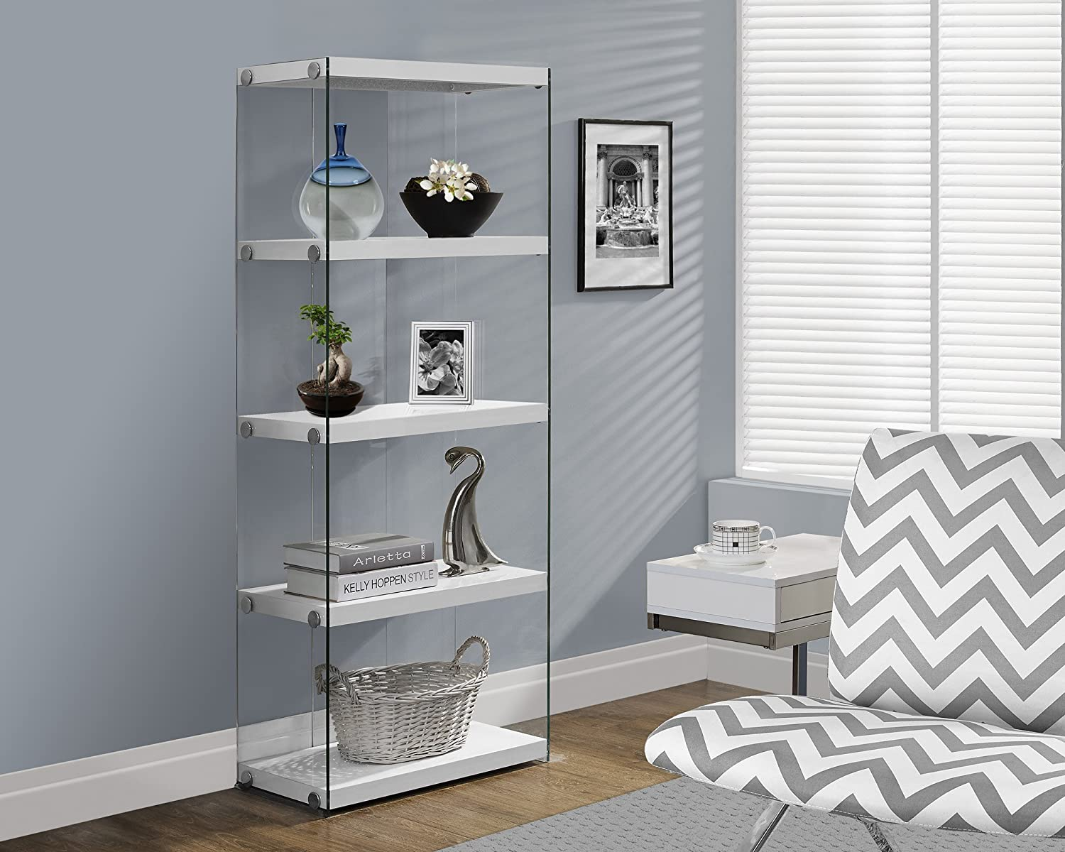 "Monarch Specialties I 3289, Bookcase, Tempered Glass, Glossy White, 60"" H"