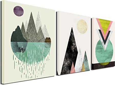 Amazon Com Gardenia Art Abstract Mountain In Daytime Canvas Prints 16x12 Inch Piece 3 Panels Framed Everything Else