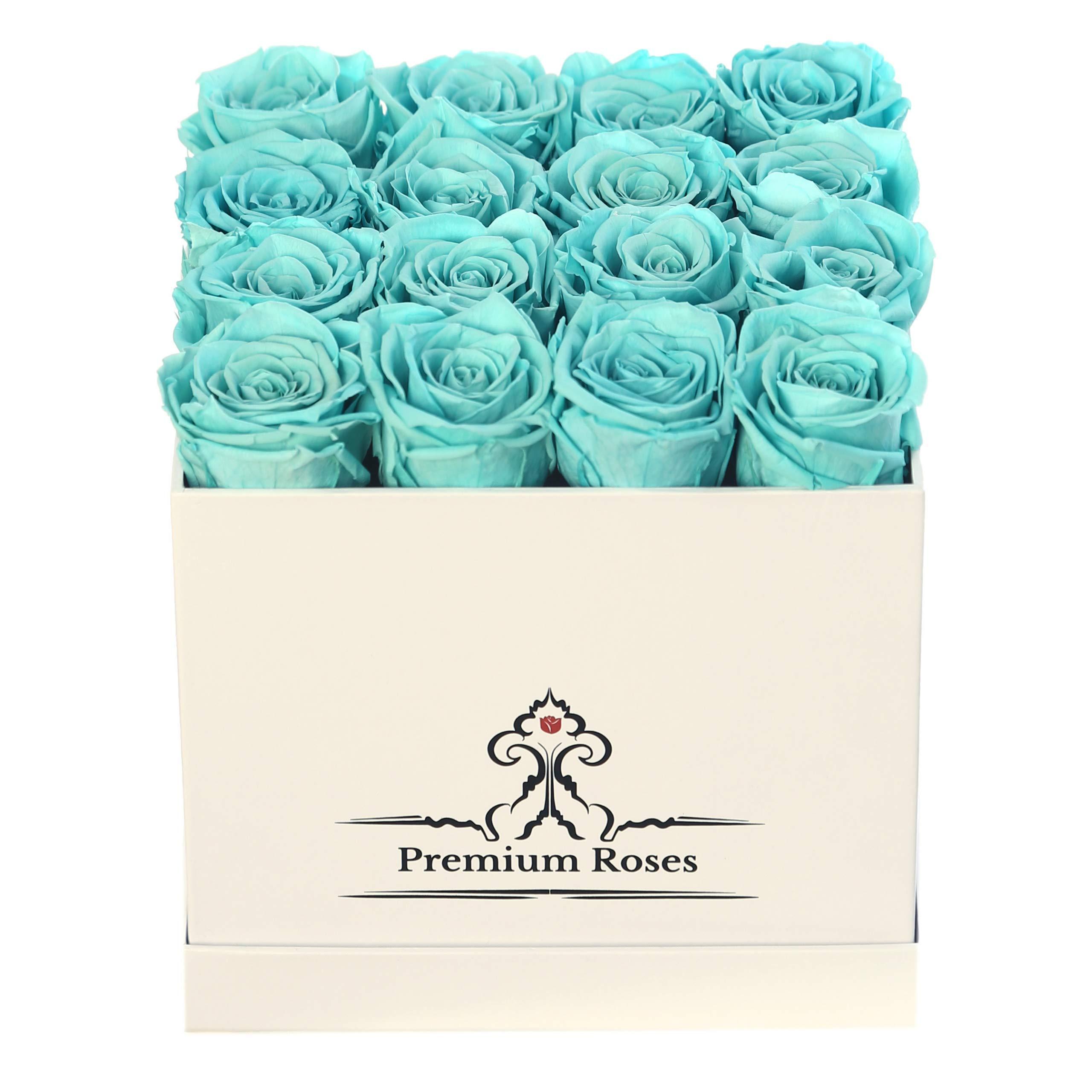 Premium Roses | Model White| Real Roses That Last 365 Days | Fresh Flowers| Roses in a Box (White Box, Medium)