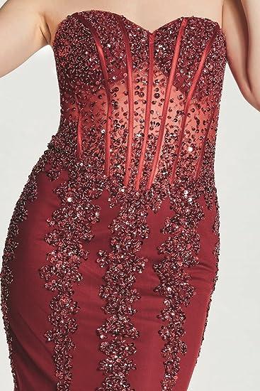 Tiffanys Illusion Prom Wine Eliza Sparkly Embellished Prom Dress: Amazon.co.uk: Clothing