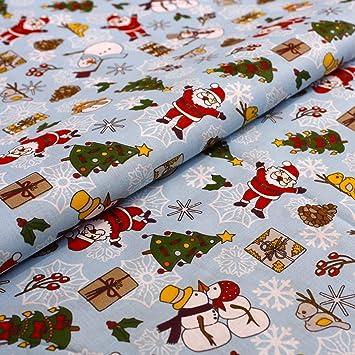 Hans-Textil-Shop - Tela por Metros, diseño de Papá Noel, árbol de Navidad, muñeco de Nieve, Regalos de algodón, para Navidad, decoración, Mantel, niños, Costura ...